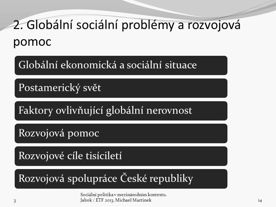 2. Globální sociální problémy a rozvojová pomoc 3 Sociální politika v mezinárodním kontextu. Jabok / ETF 2013. Michael Martinek14 Globální ekonomická