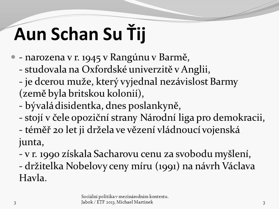 Aun Schan Su Ťij - narozena v r. 1945 v Rangúnu v Barmě, - studovala na Oxfordské univerzitě v Anglii, - je dcerou muže, který vyjednal nezávislost Ba