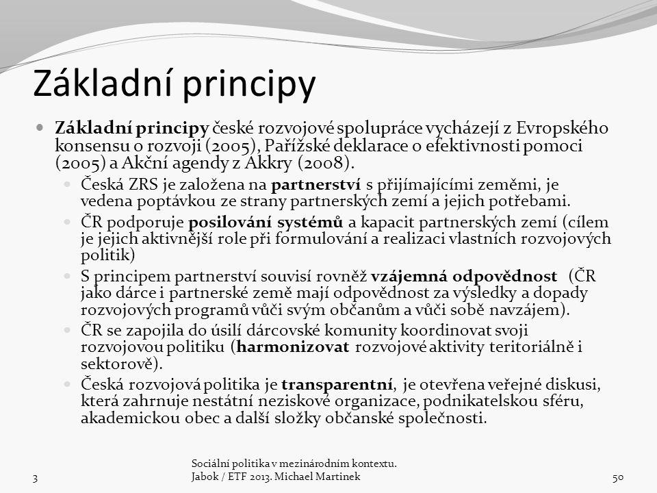 Základní principy Základní principy české rozvojové spolupráce vycházejí z Evropského konsensu o rozvoji (2005), Pařížské deklarace o efektivnosti pom
