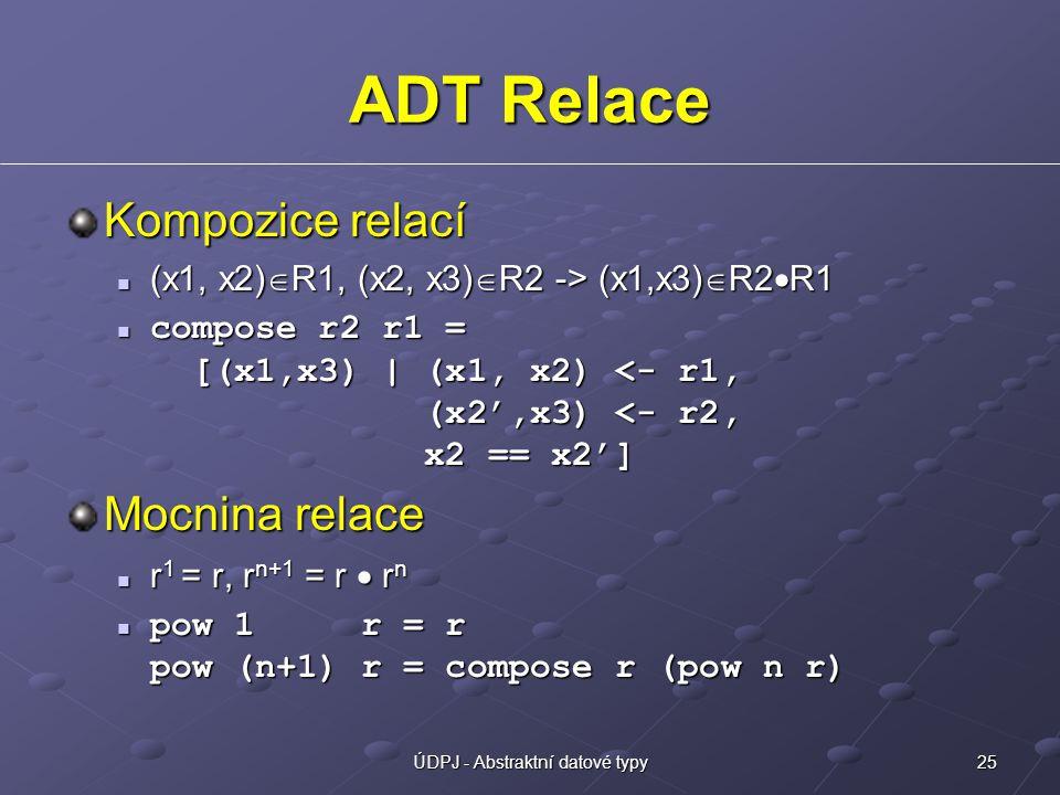 25ÚDPJ - Abstraktní datové typy ADT Relace Kompozice relací (x1, x2)  R1, (x2, x3)  R2 -> (x1,x3)  R2  R1 (x1, x2)  R1, (x2, x3)  R2 -> (x1,x3)  R2  R1 compose r2 r1 = [(x1,x3) | (x1, x2) <- r1, (x2',x3) <- r2, x2 == x2'] compose r2 r1 = [(x1,x3) | (x1, x2) <- r1, (x2',x3) <- r2, x2 == x2'] Mocnina relace r 1 = r, r n+1 = r  r n r 1 = r, r n+1 = r  r n pow 1 r = r pow (n+1) r = compose r (pow n r) pow 1 r = r pow (n+1) r = compose r (pow n r)