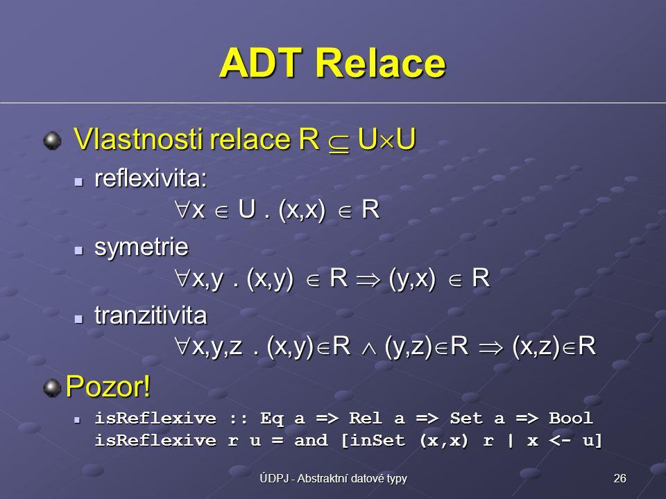 26ÚDPJ - Abstraktní datové typy ADT Relace Vlastnosti relace R  U  U Vlastnosti relace R  U  U reflexivita:  x  U. (x,x)  R reflexivita:  x 