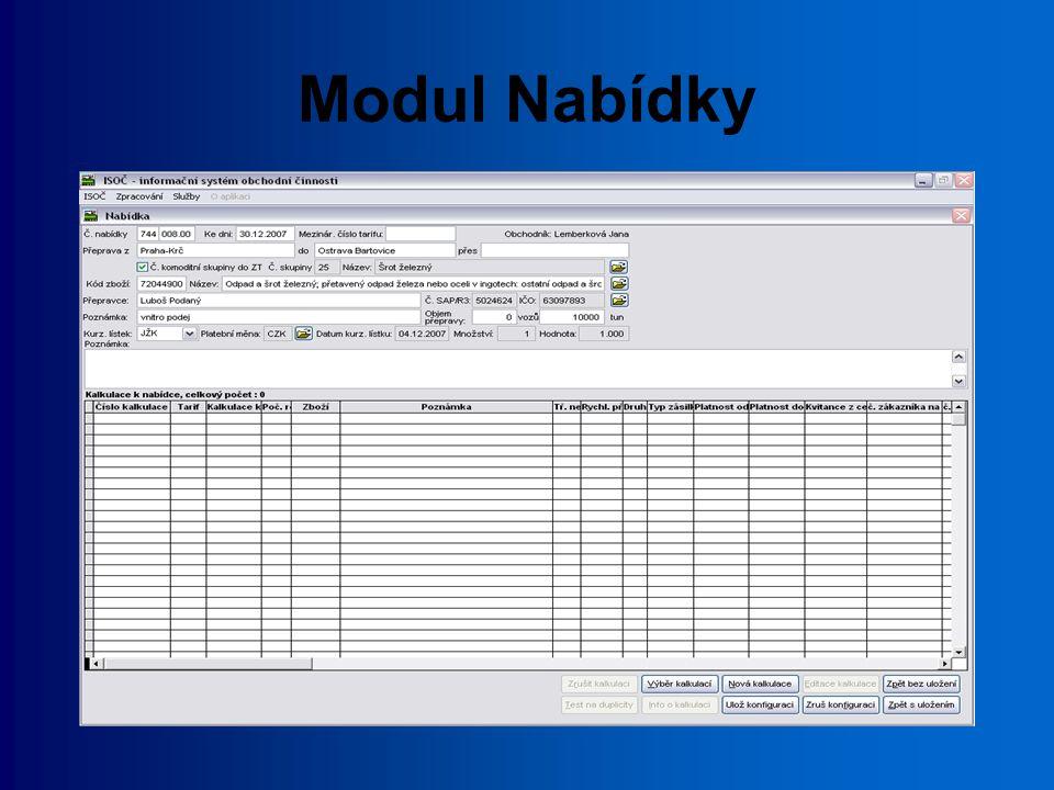 Modul Zákaznické tarify vytváření Zákaznických tarifů a jejich dodatků pořízení textových částí tarifů ve formátu MS Word pořízení příloh tarifů ve formátu MS Excel odeslání dat do centra