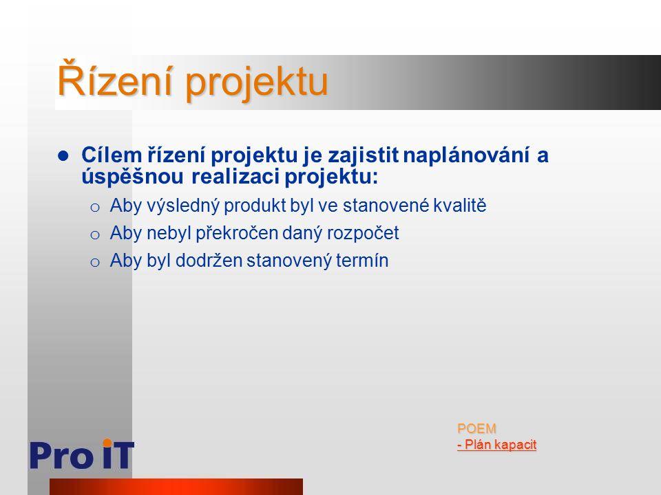 Řízení projektu Cílem řízení projektu je zajistit naplánování a úspěšnou realizaci projektu: o Aby výsledný produkt byl ve stanovené kvalitě o Aby neb