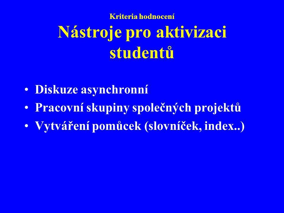 Kriteria hodnocení Nástroje pro aktivizaci studentů Diskuze asynchronní Pracovní skupiny společných projektů Vytváření pomůcek (slovníček, index..)