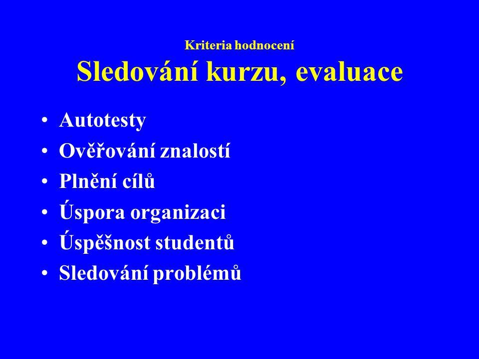 Kriteria hodnocení Sledování kurzu, evaluace Autotesty Ověřování znalostí Plnění cílů Úspora organizaci Úspěšnost studentů Sledování problémů