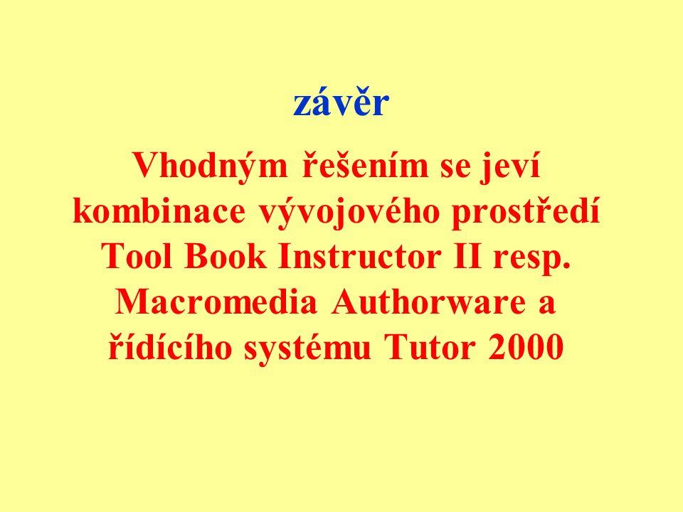 závěr Vhodným řešením se jeví kombinace vývojového prostředí Tool Book Instructor II resp.