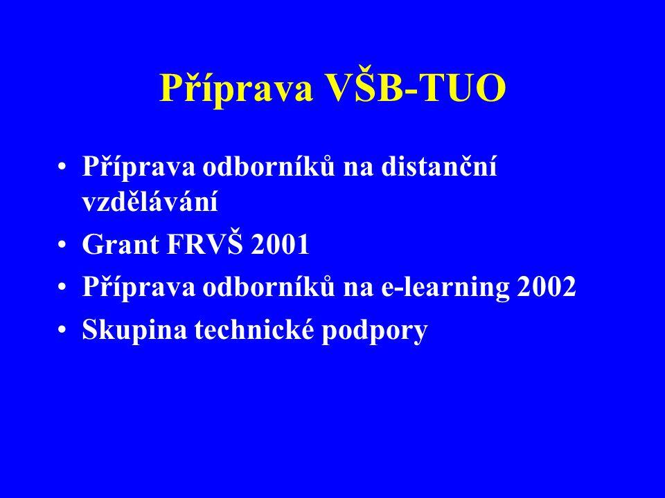 Příprava VŠB-TUO Příprava odborníků na distanční vzdělávání Grant FRVŠ 2001 Příprava odborníků na e-learning 2002 Skupina technické podpory