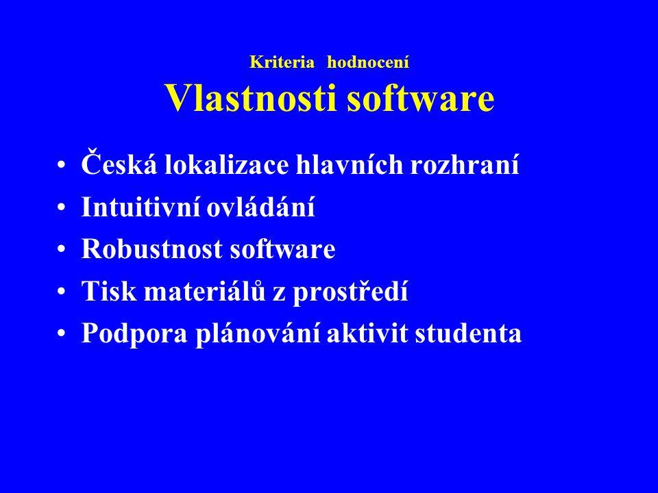 Kriteria hodnocení Vlastnosti software Česká lokalizace hlavních rozhraní Intuitivní ovládání Robustnost software Tisk materiálů z prostředí Podpora plánování aktivit studenta