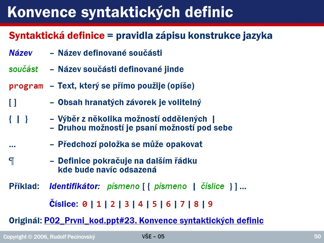 VŠE – 05 Copyright © 2006, Rudolf Pecinovský 50 Konvence syntaktických definic Syntaktická definice = pravidla zápisu konstrukce jazyka Název–Název definované součásti součást –Název součásti definované jinde program –Text, který se přímo použije (opíše) [ ]–Obsah hranatých závorek je volitelný { | }–Výběr z několika možností oddělených | –Druhou možností je psaní možností pod sebe …–Předchozí položka se může opakovat ¶–Definice pokračuje na dalším řádku kde bude navíc odsazená Příklad:Identifikátor:písmeno [ { písmeno | číslice } ] … Číslice: 0 | 1 | 2 | 3 | 4 | 5 | 6 | 7 | 8 | 9 Originál: P02_Prvni_kod.ppt#23.
