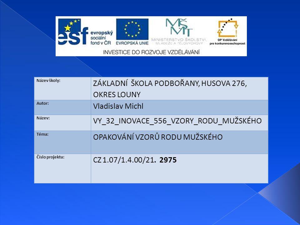 Název školy: ZÁKLADNÍ ŠKOLA PODBOŘANY, HUSOVA 276, OKRES LOUNY Autor: Vladislav Michl Název: VY_32_INOVACE_556_VZORY_RODU_MUŽSKÉHO Téma: OPAKOVÁNÍ VZORŮ RODU MUŽSKÉHO Číslo projektu: CZ 1.07/1.4.00/21.