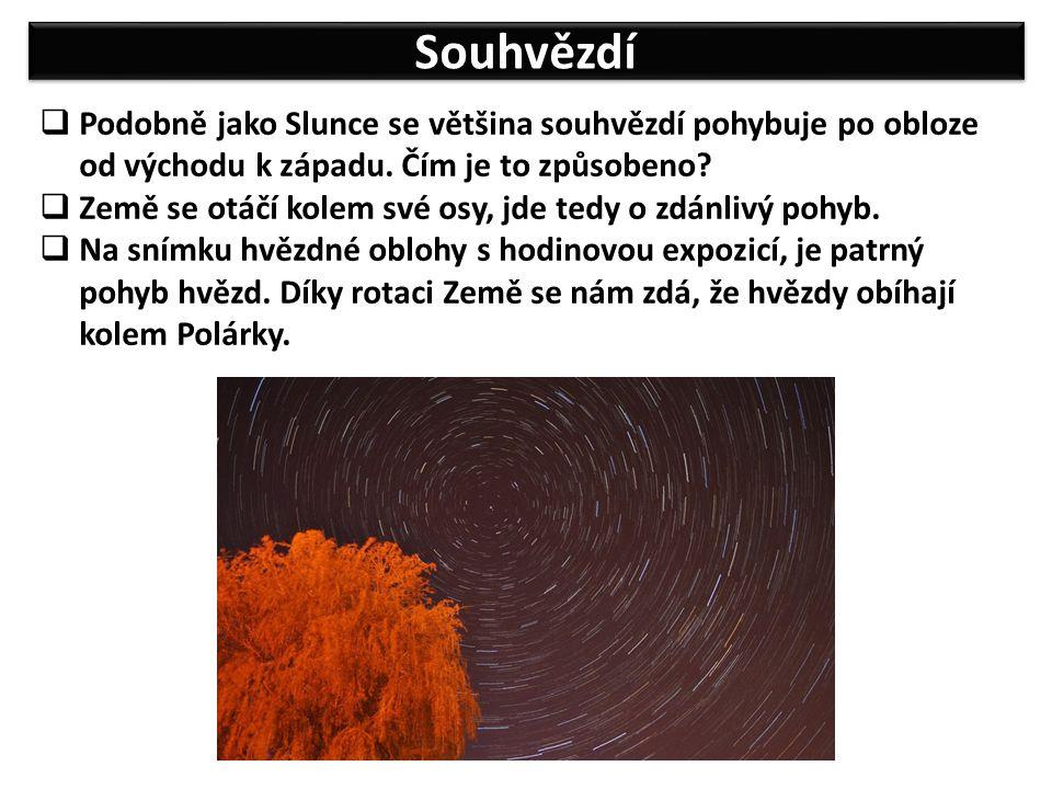 Souhvězdí  Podobně jako Slunce se většina souhvězdí pohybuje po obloze od východu k západu.