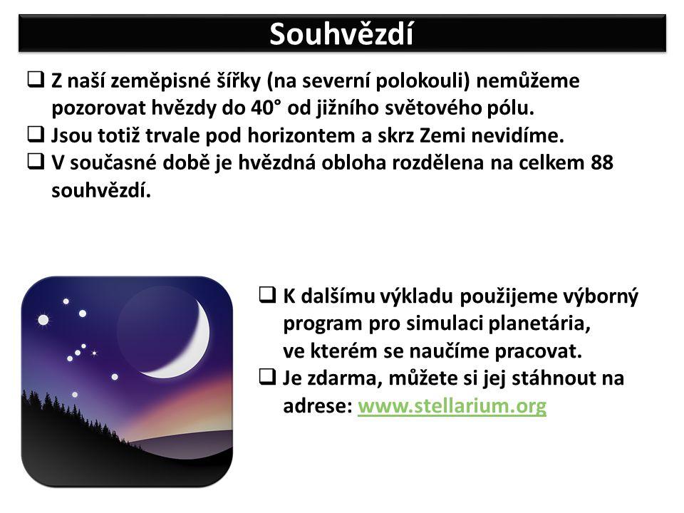 Souhvězdí  Z naší zeměpisné šířky (na severní polokouli) nemůžeme pozorovat hvězdy do 40° od jižního světového pólu.