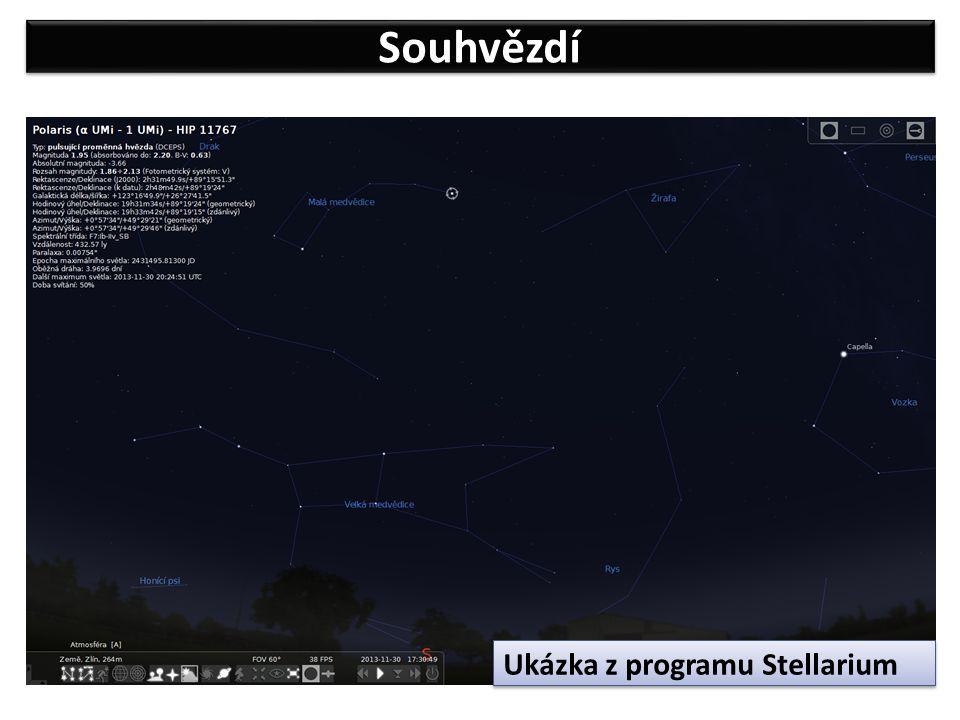Souhvězdí Ukázka z programu Stellarium