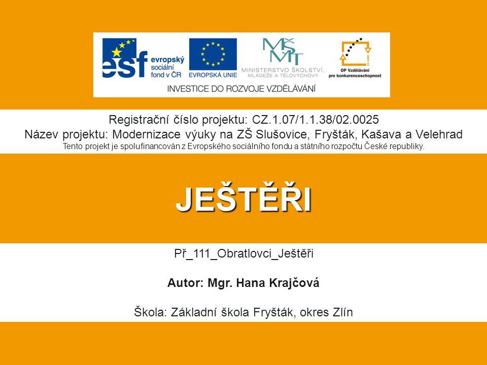 JEŠTĚŘI Registrační číslo projektu: CZ.1.07/1.1.38/02.0025 Název projektu: Modernizace výuky na ZŠ Slušovice, Fryšták, Kašava a Velehrad Tento projekt je spolufinancován z Evropského sociálního fondu a státního rozpočtu České republiky.