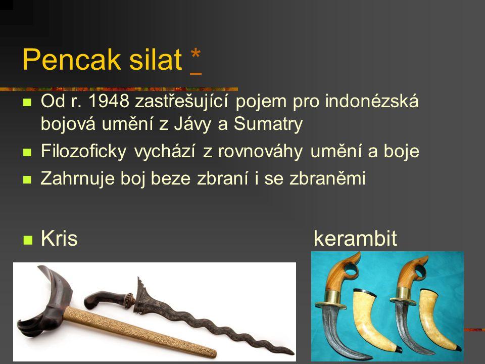 Bojová umění jihovýchodní Asie Indonesie (pencak) silat, kuntao Malaisie bersilat (silat pulut, silat buah) Filipíny eskrima (kali, arnis), panantukan