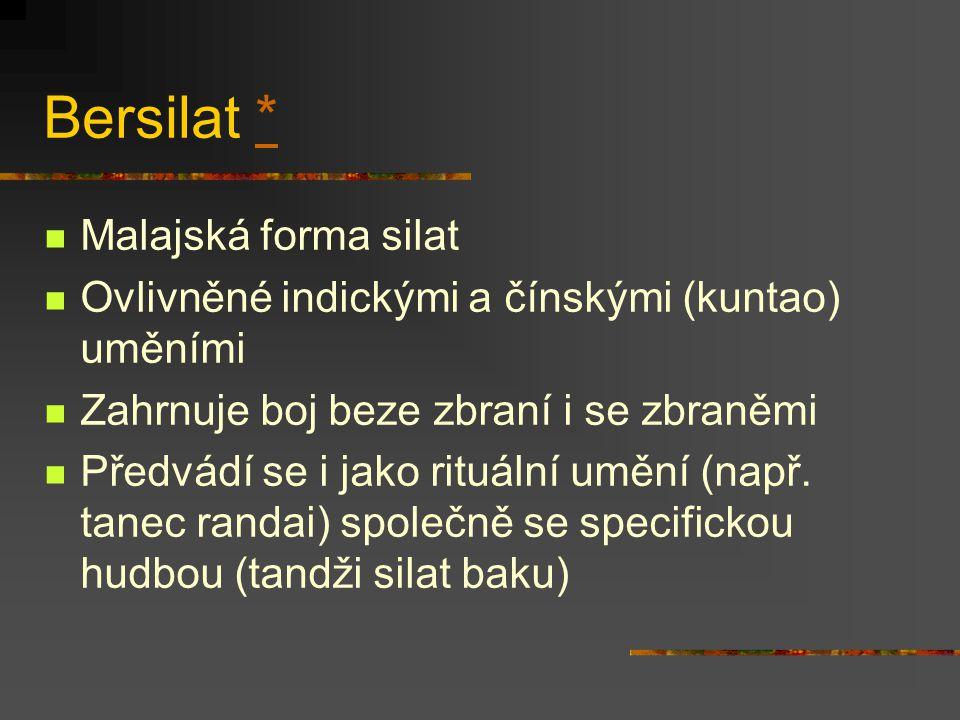 Pencak silat ** Od r. 1948 zastřešující pojem pro indonézská bojová umění z Jávy a Sumatry Filozoficky vychází z rovnováhy umění a boje Zahrnuje boj b