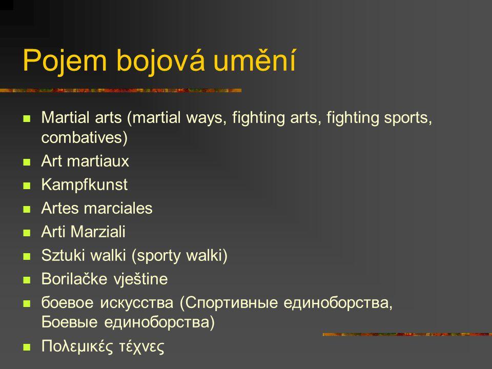 Muai thai ** Bojové umění osmi končetin Vyvinul se z obranného umění muai boran Typický údery lokty a kopy na nohy V současnosti sportovní disciplína (ring, rukavice, váhové kategorie, zápas na kola,...) Rituál wai khru **