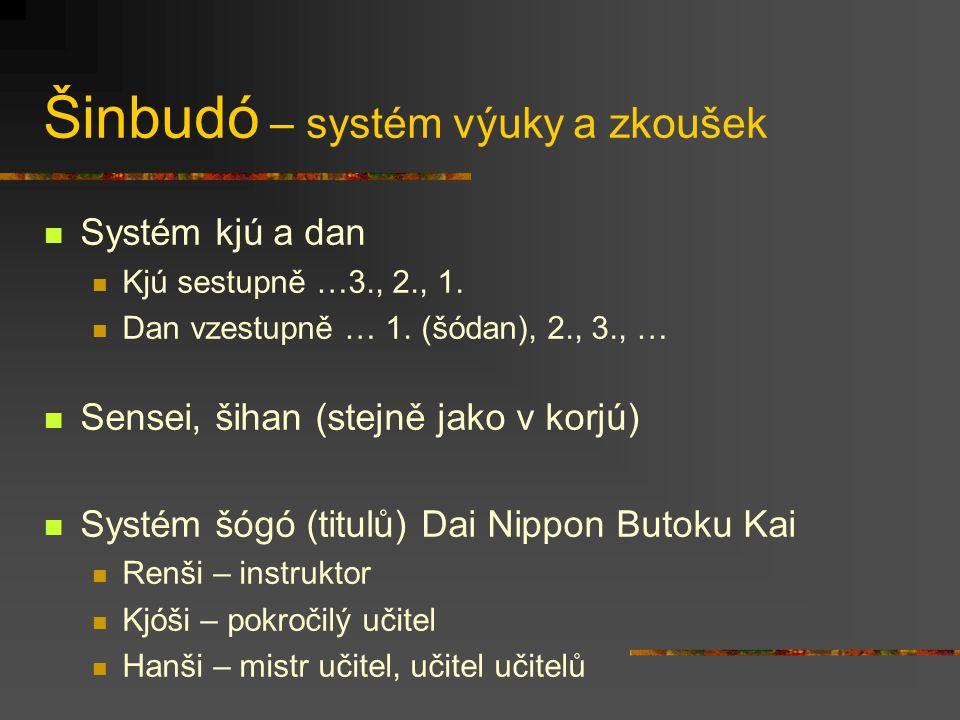 Šinbudó Džúdó Kendó Naginatadó Karatedó Aikidó Šórindži kenpó Džúkendó Sumó (není zcela kobudó ani šinbudó) Moderní školy jsou obvykle relativně úzce