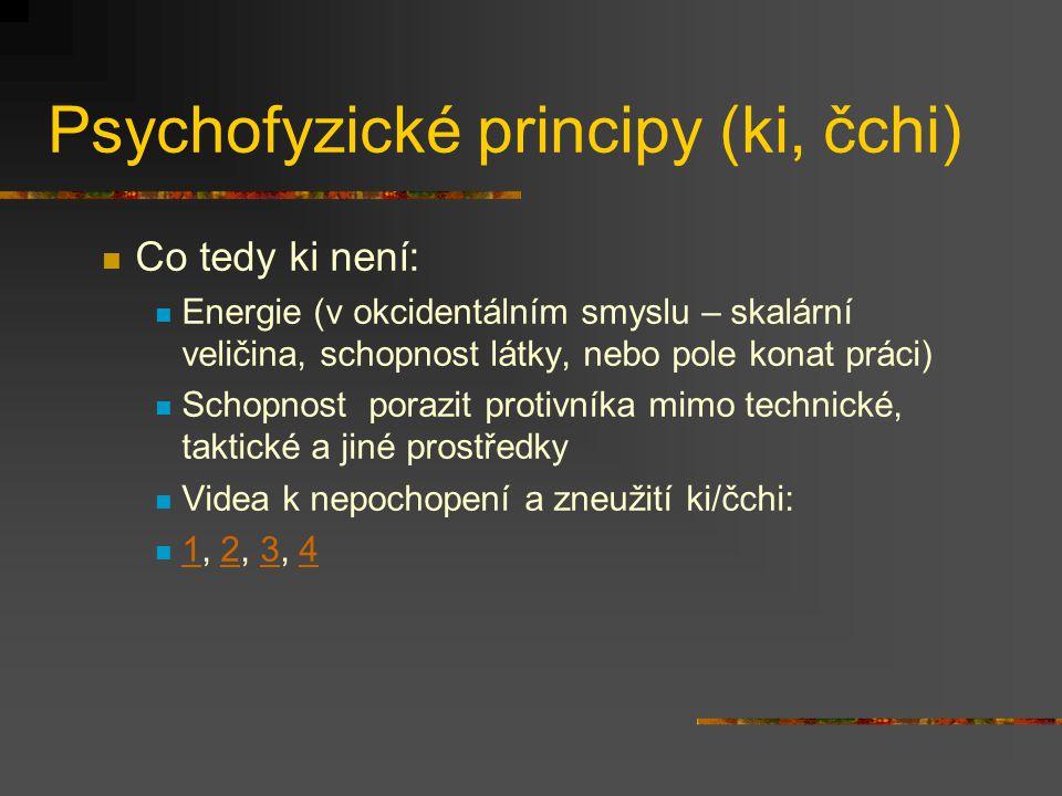 Psychofyzické principy (ki, čchi) V bojových uměních sledujeme tři aspekty ki duchovní aspekt (duch, duše, étos (ang. spirit; fr. esprit; nem. Geist))