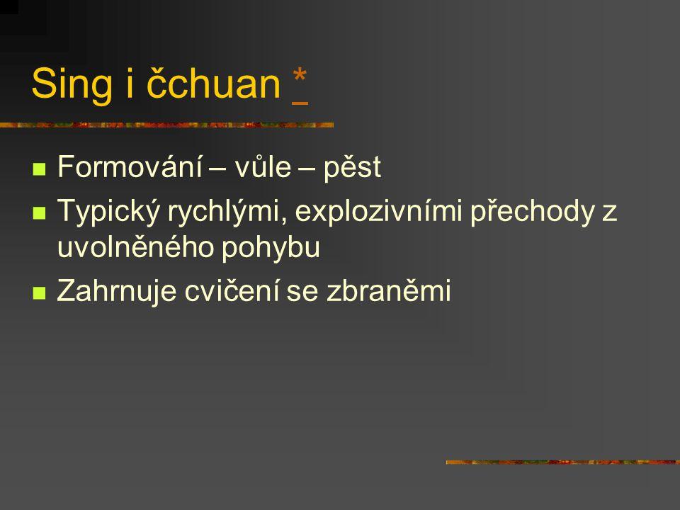 Tchai ťi čchuan Zdroje: I ťing (Kniha proměn, 2 tis. př.n.l.), Lao'c – Tao te ťing (6. stol. př.n.l), Čang Sanfeng (12. stol.) Tchai ťi – nejzažší mez