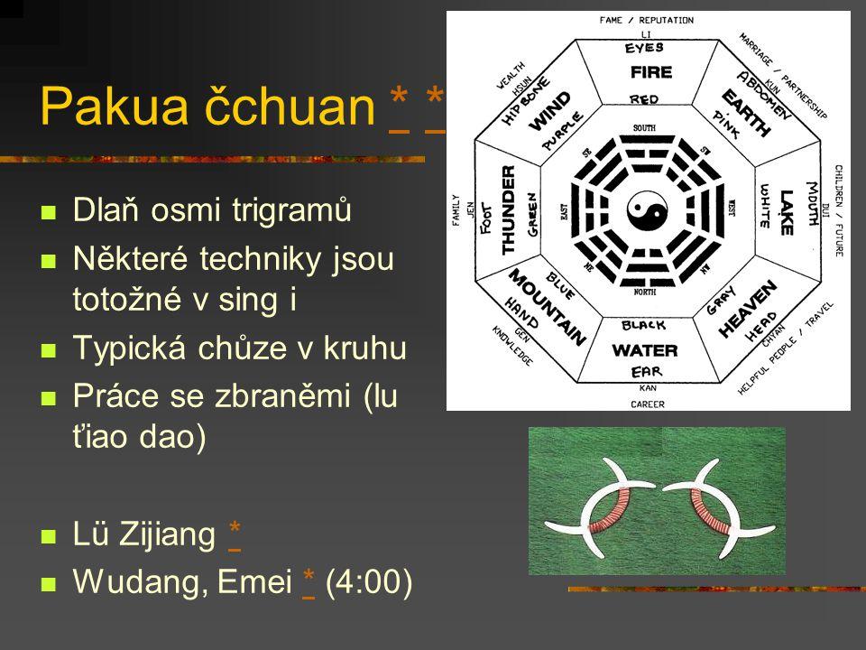 Sing i čchuan ** Formování – vůle – pěst Typický rychlými, explozivními přechody z uvolněného pohybu Zahrnuje cvičení se zbraněmi