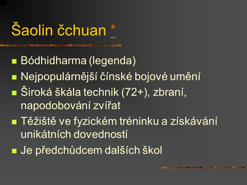 Pakua čchuan * ** Dlaň osmi trigramů Některé techniky jsou totožné v sing i Typická chůze v kruhu Práce se zbraněmi (lu ťiao dao) Lü Zijiang ** Wudang