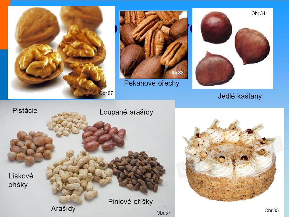 Střední škola Oselce Ozdoby z jádrovin Obr.35 Obr.87 Obr.88 Obr.37 Jedlé kaštany Obr.34 Pekanové ořechy Piniové oříšky Lískové oříšky Arašídy Pistácie