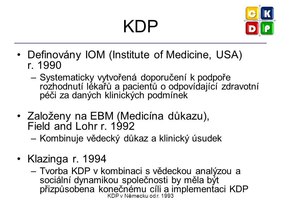 KDP v Německu od r. 1993 KDP Definovány IOM (Institute of Medicine, USA) r.