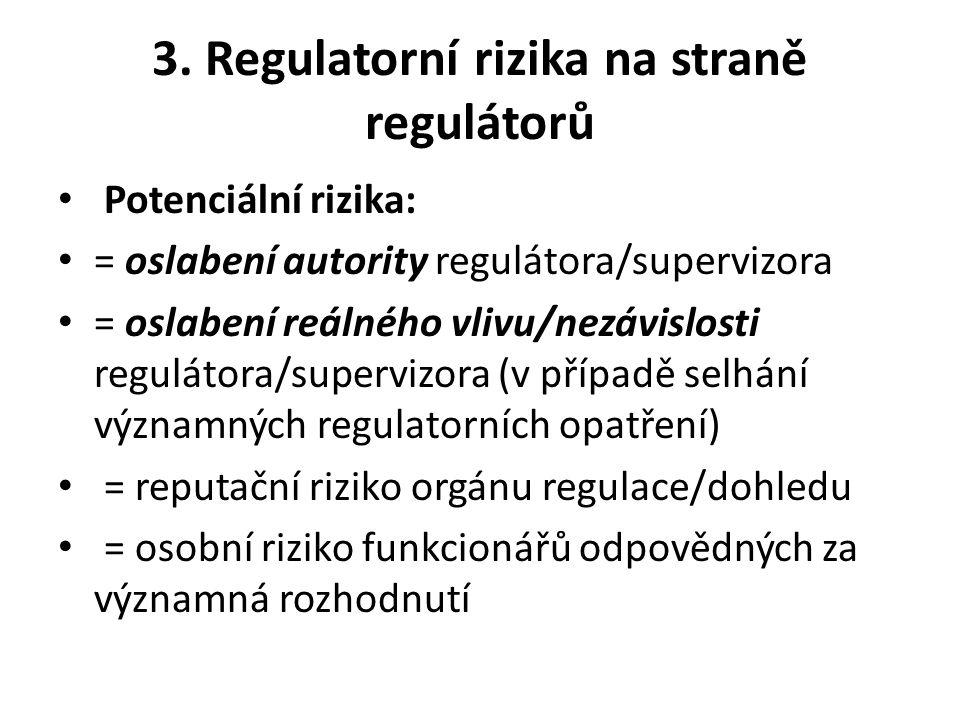 3. Regulatorní rizika na straně regulátorů Potenciální rizika: = oslabení autority regulátora/supervizora = oslabení reálného vlivu/nezávislosti regul