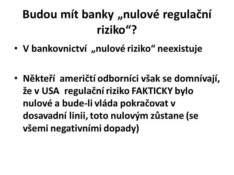 """Budou mít banky """"nulové regulační riziko ."""