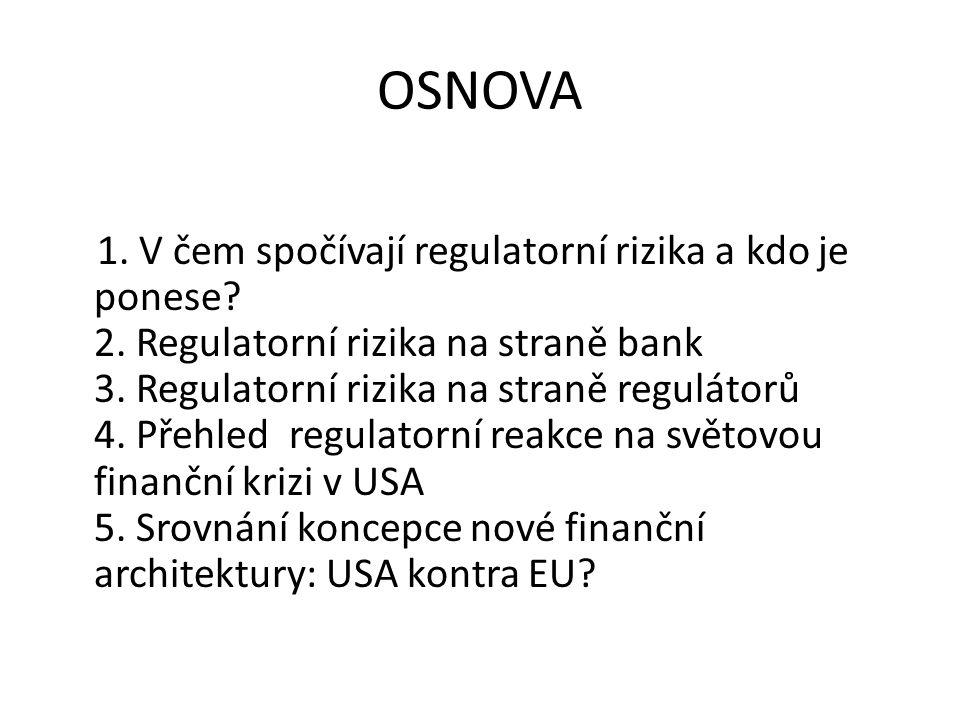 OSNOVA 1. V čem spočívají regulatorní rizika a kdo je ponese.