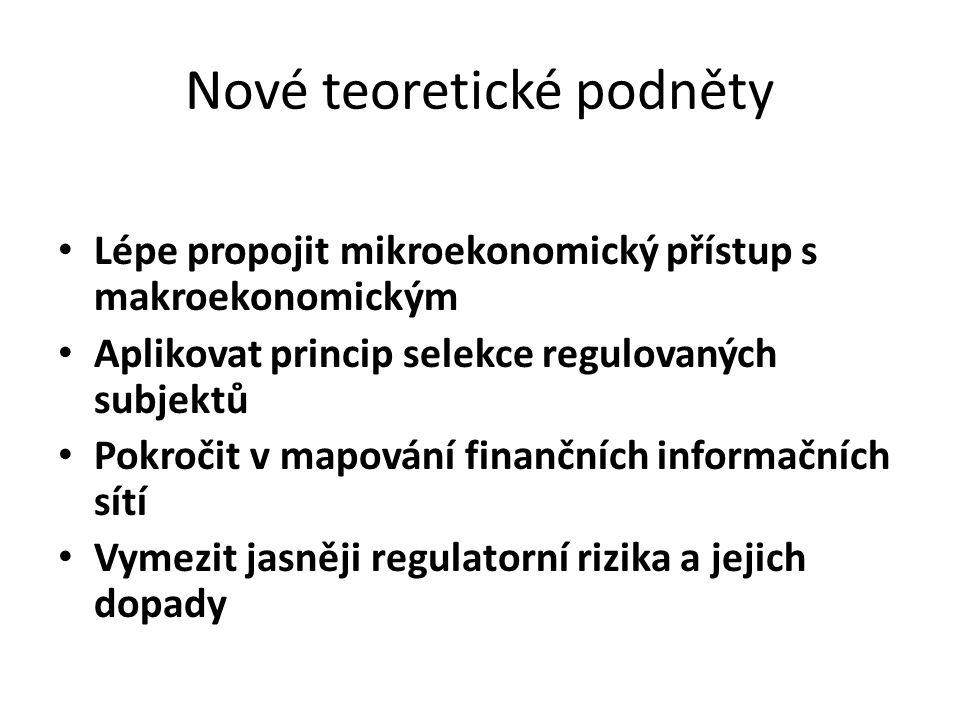 Nové teoretické podněty Lépe propojit mikroekonomický přístup s makroekonomickým Aplikovat princip selekce regulovaných subjektů Pokročit v mapování finančních informačních sítí Vymezit jasněji regulatorní rizika a jejich dopady