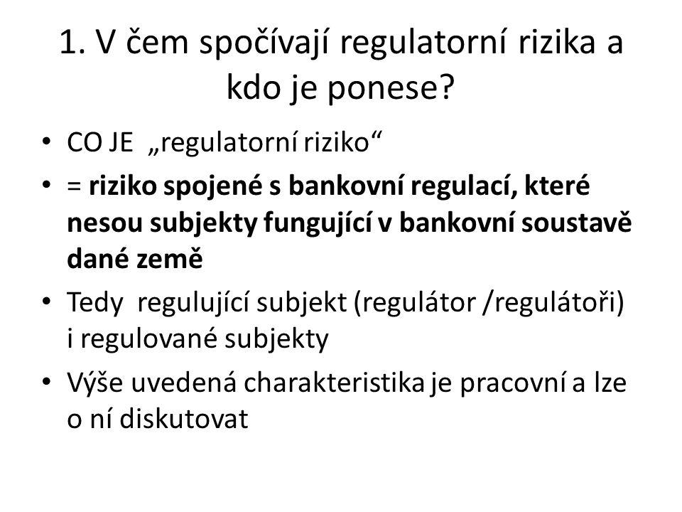 1. V čem spočívají regulatorní rizika a kdo je ponese.
