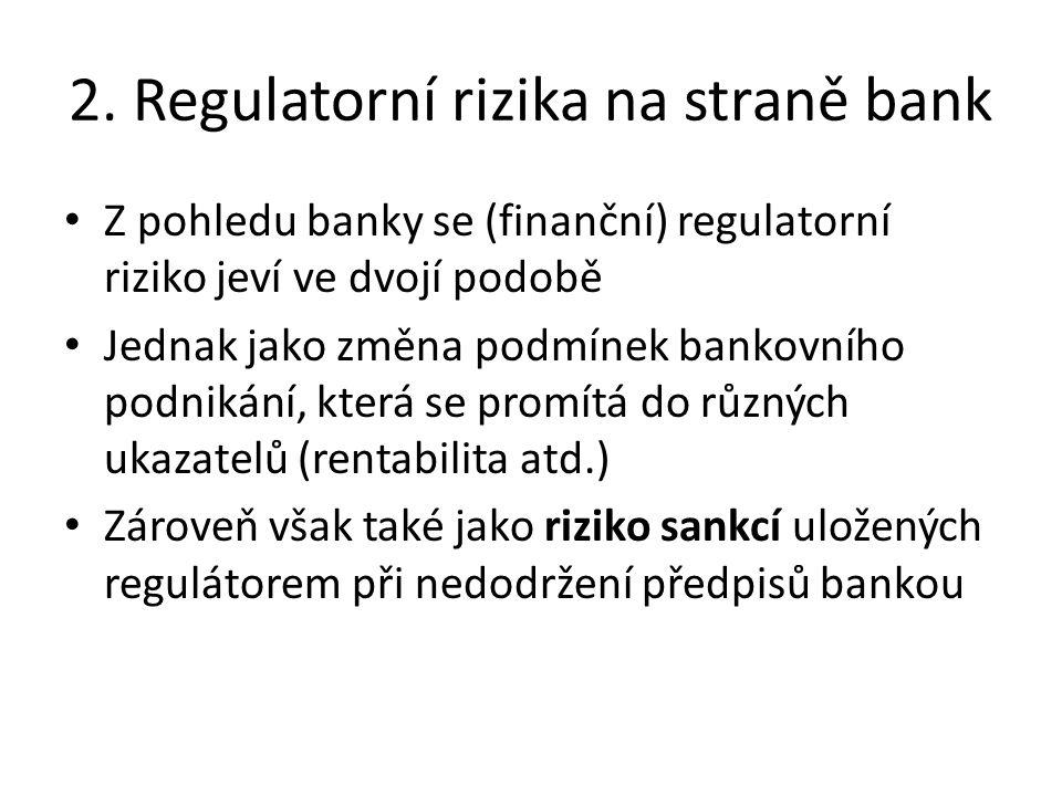 2. Regulatorní rizika na straně bank Z pohledu banky se (finanční) regulatorní riziko jeví ve dvojí podobě Jednak jako změna podmínek bankovního podni