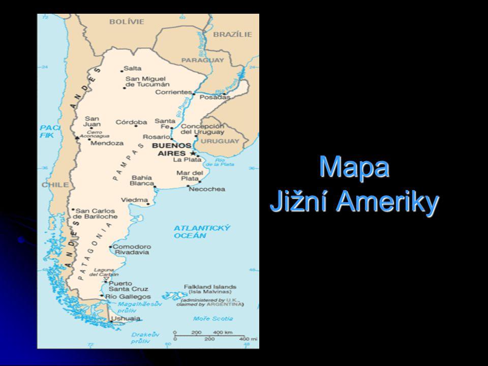 Mapa Jižní Ameriky