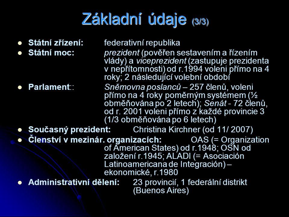 Základní údaje (3/3) Státní zřízení: federativní republika Státní moc: prezident (pověřen sestavením a řízením vlády) a viceprezident (zastupuje prezidenta v nepřítomnosti) od r.1994 voleni přímo na 4 roky; 2 následující volební období Parlament::Sněmovna poslanců – 257 členů, voleni přímo na 4 roky poměrným systémem (½ obměňována po 2 letech); Senát - 72 členů, od r.