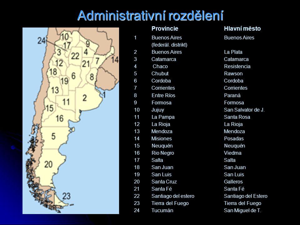 Administrativní rozdělení ProvincieHlavní město 1 Buenos AiresBuenos Aires (federál.