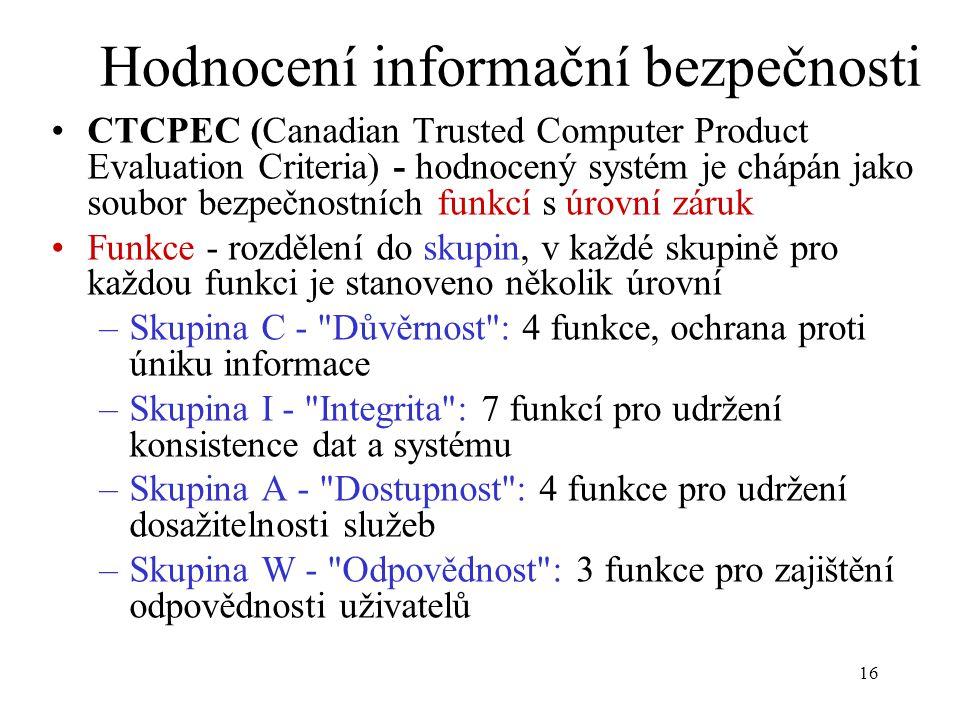 16 Hodnocení informační bezpečnosti CTCPEC (Canadian Trusted Computer Product Evaluation Criteria) - hodnocený systém je chápán jako soubor bezpečnost