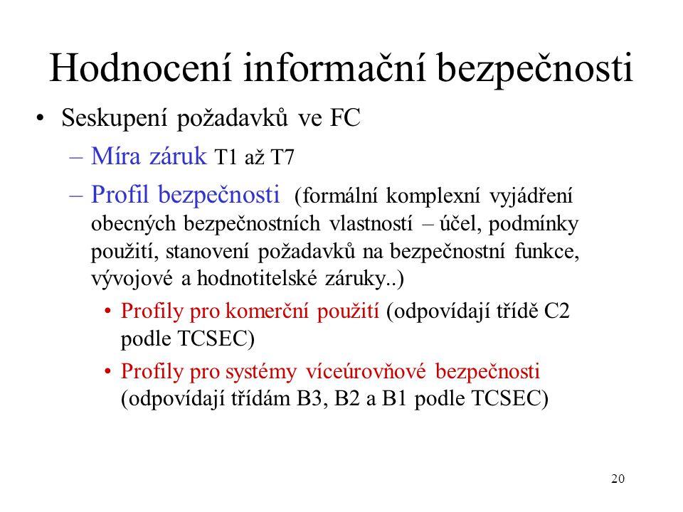 20 Hodnocení informační bezpečnosti Seskupení požadavků ve FC –Míra záruk T1 až T7 –Profil bezpečnosti (formální komplexní vyjádření obecných bezpečnostních vlastností – účel, podmínky použití, stanovení požadavků na bezpečnostní funkce, vývojové a hodnotitelské záruky..) Profily pro komerční použití (odpovídají třídě C2 podle TCSEC) Profily pro systémy víceúrovňové bezpečnosti (odpovídají třídám B3, B2 a B1 podle TCSEC)