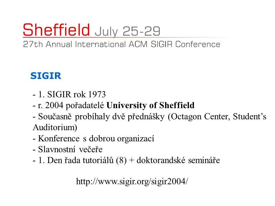 SIGIR - 1. SIGIR rok 1973 - r. 2004 pořadatelé University of Sheffield - Současně probíhaly dvě přednášky (Octagon Center, Student's Auditorium) - Kon