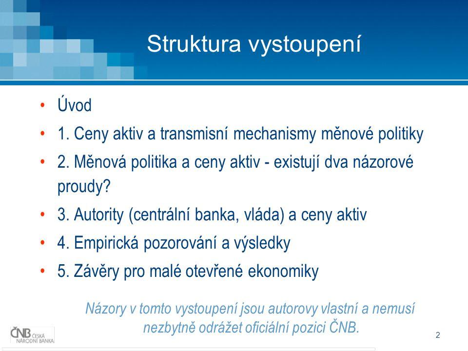 2 Struktura vystoupení Úvod 1. Ceny aktiv a transmisní mechanismy měnové politiky 2.