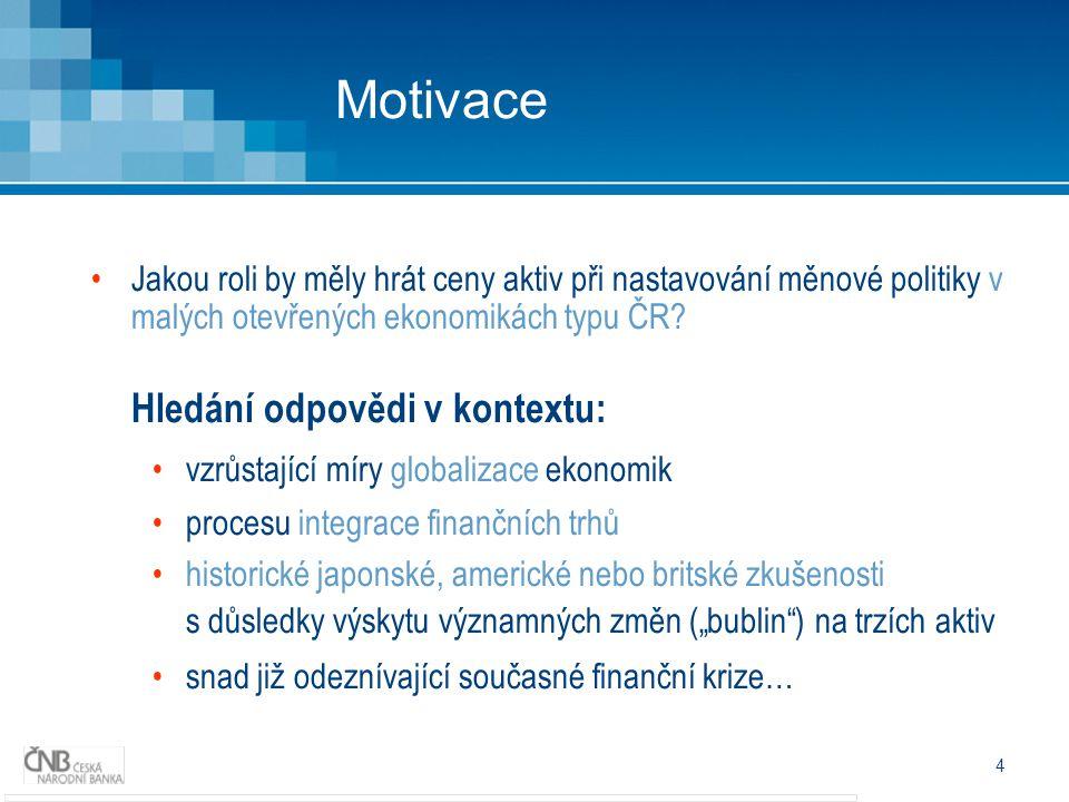 4 Motivace Jakou roli by měly hrát ceny aktiv při nastavování měnové politiky v malých otevřených ekonomikách typu ČR.