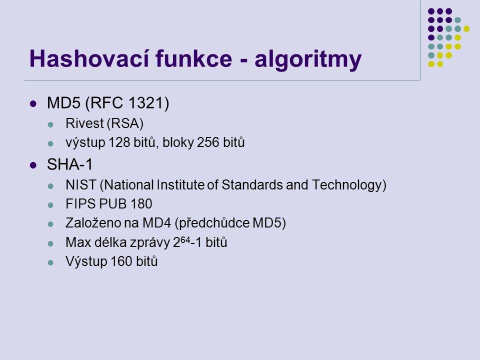 Hashovací funkce - algoritmy MD5 (RFC 1321) Rivest (RSA) výstup 128 bitů, bloky 256 bitů SHA-1 NIST (National Institute of Standards and Technology) F