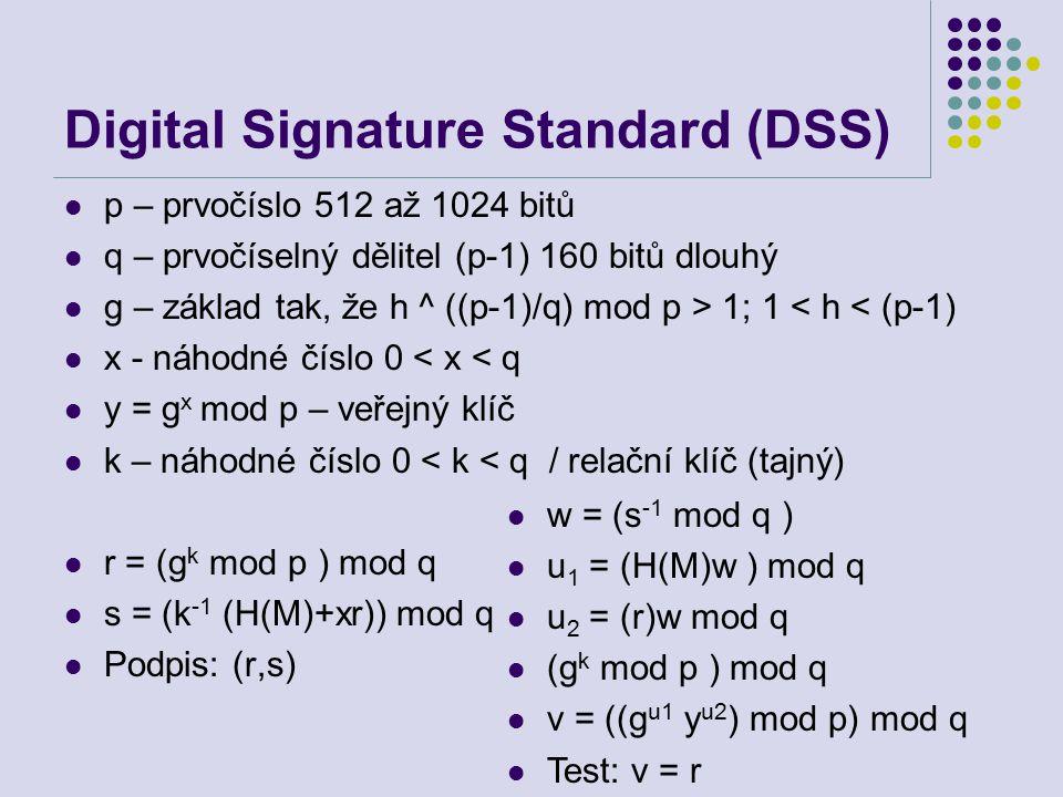 Digital Signature Standard (DSS) p – prvočíslo 512 až 1024 bitů q – prvočíselný dělitel (p-1) 160 bitů dlouhý g – základ tak, že h ^ ((p-1)/q) mod p > 1; 1 < h < (p-1) x - náhodné číslo 0 < x < q y = g x mod p – veřejný klíč k – náhodné číslo 0 < k < q / relační klíč (tajný) r = (g k mod p ) mod q s = (k -1 (H(M)+xr)) mod q Podpis: (r,s) w = (s -1 mod q ) u 1 = (H(M)w ) mod q u 2 = (r)w mod q (g k mod p ) mod q v = ((g u1 y u2 ) mod p) mod q Test: v = r