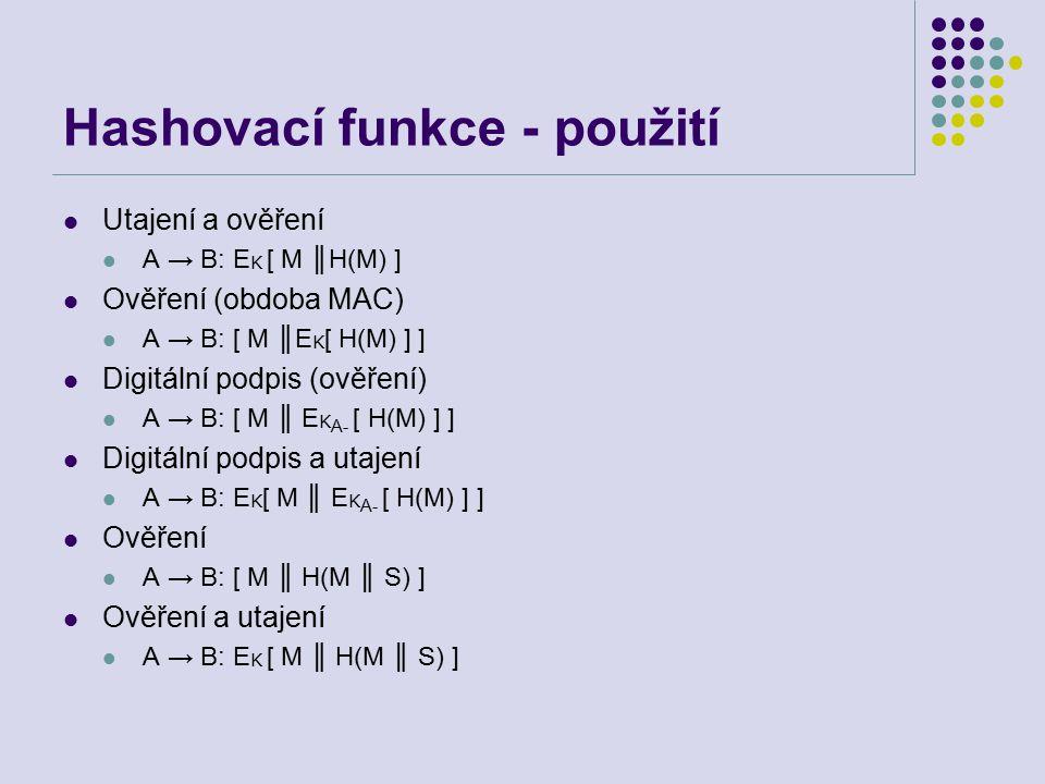 Hashovací funkce - použití Utajení a ověření A → B: E K [ M ║H(M) ] Ověření (obdoba MAC) A → B: [ M ║E K [ H(M) ] ] Digitální podpis (ověření) A → B: [ M ║ E K A- [ H(M) ] ] Digitální podpis a utajení A → B: E K [ M ║ E K A- [ H(M) ] ] Ověření A → B: [ M ║ H(M ║ S) ] Ověření a utajení A → B: E K [ M ║ H(M ║ S) ]
