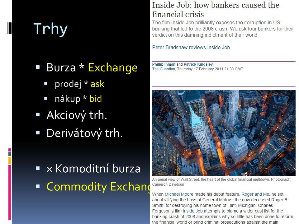 Trhy  Burza * Exchange  prodej * ask  nákup * bid  Akciový trh.