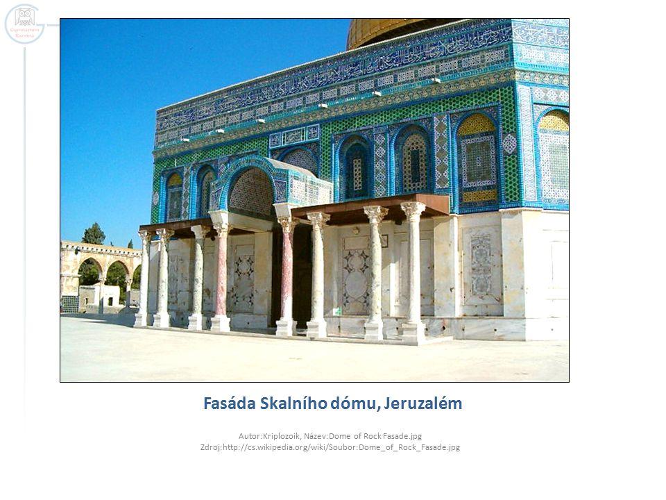 Fasáda Skalního dómu, Jeruzalém Autor:Kriplozoik, Název:Dome of Rock Fasade.jpg Zdroj:http://cs.wikipedia.org/wiki/Soubor:Dome_of_Rock_Fasade.jpg