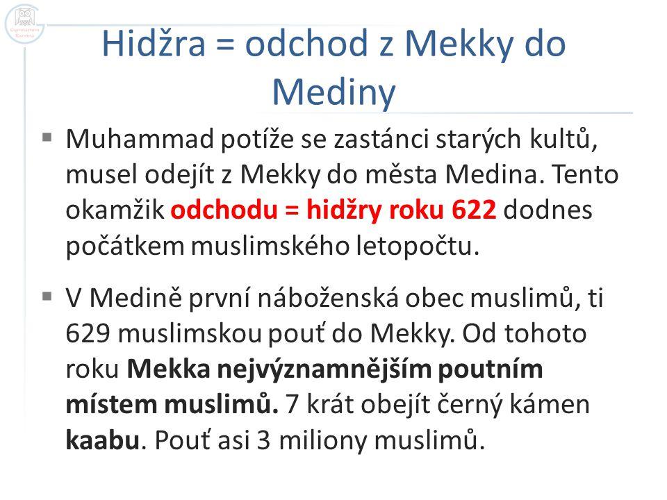 Hidžra = odchod z Mekky do Mediny  Muhammad potíže se zastánci starých kultů, musel odejít z Mekky do města Medina.