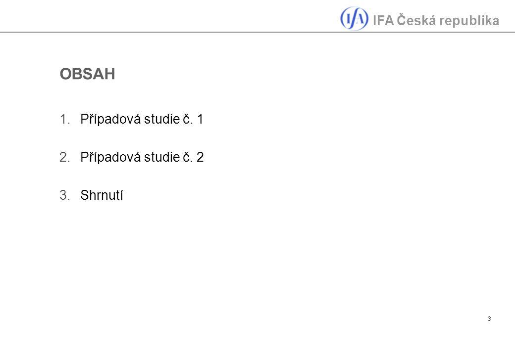 IFA Česká republika 3 OBSAH 1.Případová studie č. 1 2.Případová studie č. 2 3.Shrnutí