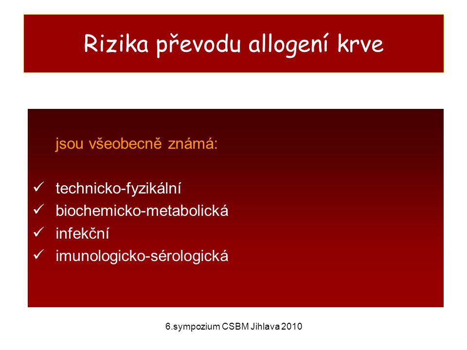 6.sympozium CSBM Jihlava 2010 Rizika převodu allogení krve jsou všeobecně známá: technicko-fyzikální biochemicko-metabolická infekční imunologicko-sérologická